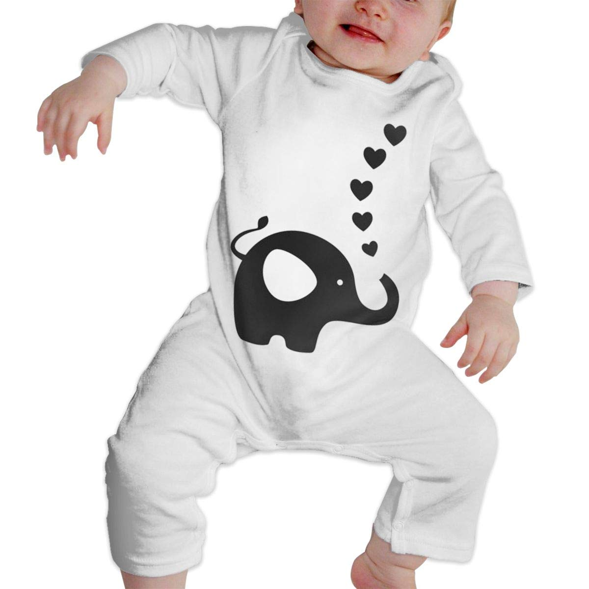 Gary Katte Baby Elephant Newborn Jumpsuit Infant Baby Girls Long-Sleeve Bodysuit Playsuit Outfits ClothesWhite