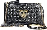Authentic Arcadia Handmade Metallic Evening Bag Gold Tiger Rhinestones and Bangle Bling with Triple Option Adjustable Chain Shoulder Straps: ZH3012-PR