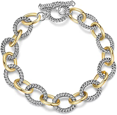 Retro '60s '70s Vintage Style Silver /& Black Circle Chain Link Necklace
