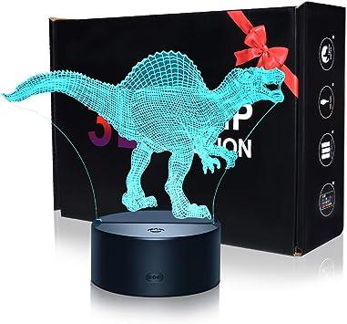 KITY 2-12 Años Juguetes Niño,3D Dinosaurio luz LED de Noche ...