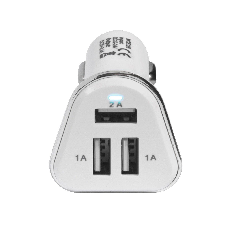 Maclean MCE125 Chargeurs allumes cigares chargeur de voiture USB blanc