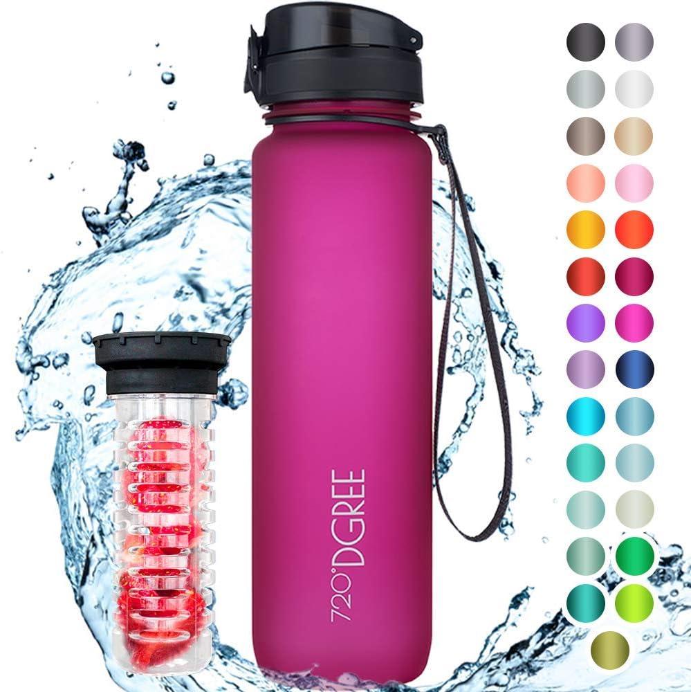 """720°DGREE Botella de Agua """"uberBottle"""" – 1000ml   Impermeable y Reutilizable   para Beber Ideal para niños, Deporte, Escuela   Sin BPA   con Inserto de Fruta"""