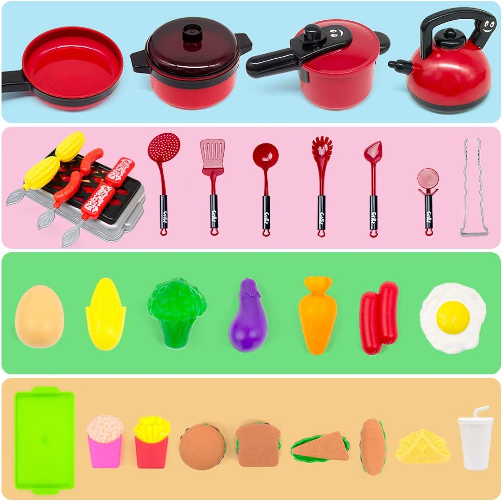 38 Pcs Kids Kitchen Playsets Pots /& Pans and BBQ Grill for Kids Cooking Set for Toddlers Learning Gift for Baby Toddlers Girls Boys. Burger Fries GRTLPOK Kids Kitchen Pretend Play Toys