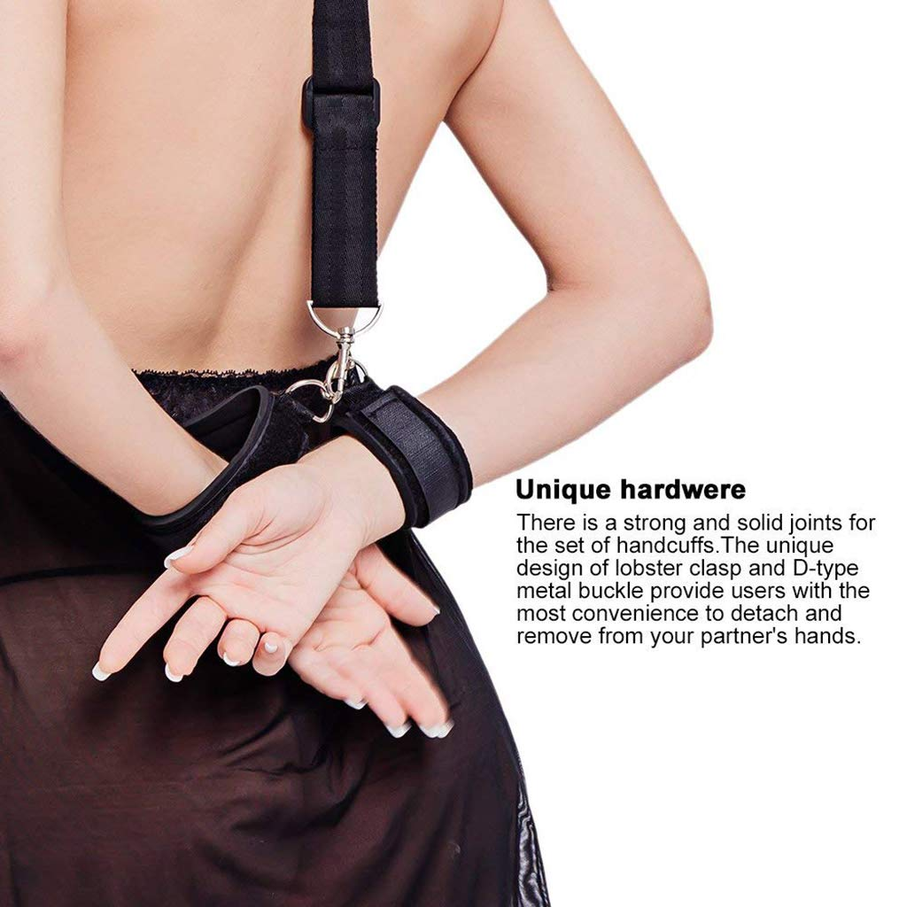 Fetish Bed Restraint Kit with Hand Cuffs Ankle Cuff Bondage Collection for Male Female by A&Dan (Image #7)