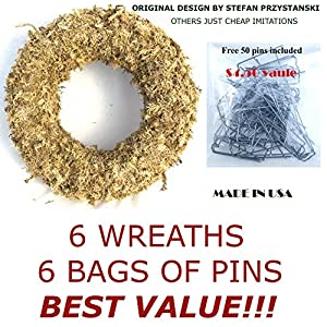 "Topiary Art Works 9"" Sphagnum Moss Living Wreath Round, Natural-Organic Original - 6 Wreaths Value Combo 22"