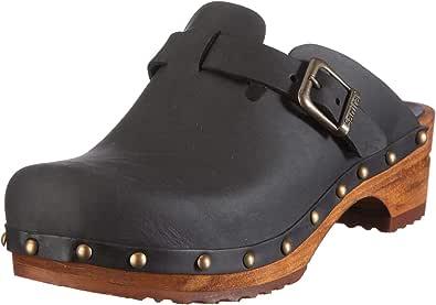 Sanita Kristel Open Clogs   Original Handmade   Leather Wooden Clogs for Women