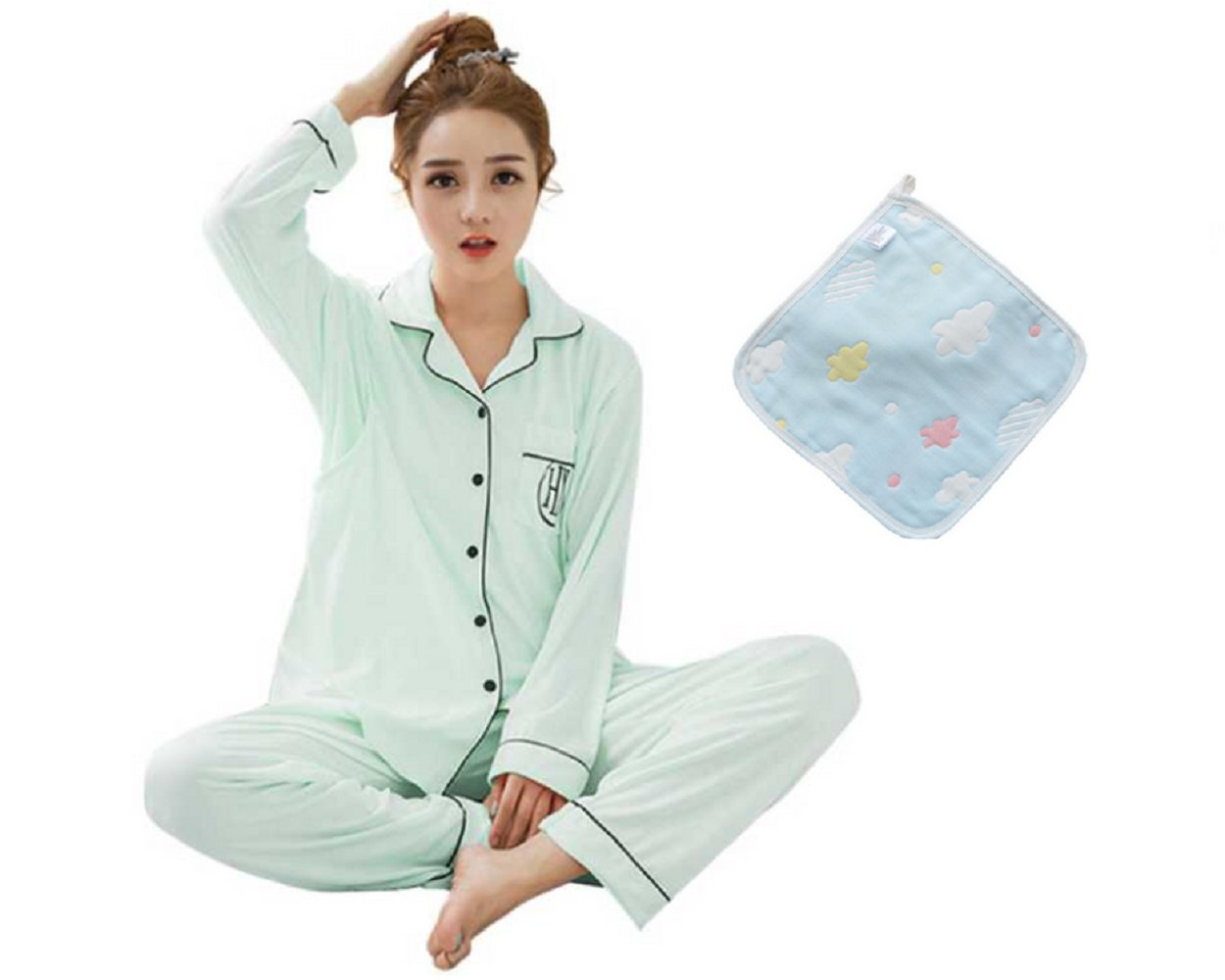 Lily Blair Soft Long Sleeve Maternity Nursing/Breastfeeding Pajamas Set, Organic Cotton Cloth [L・LL Size / Pink・Green] (M, Green)