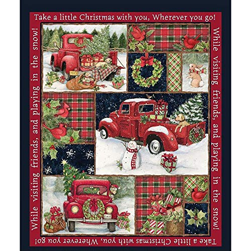 Christmas Fabric Red Truck Collage Panel from Springs Creative 100% Cotton Sold by The Panel Fabric by The Yard]()