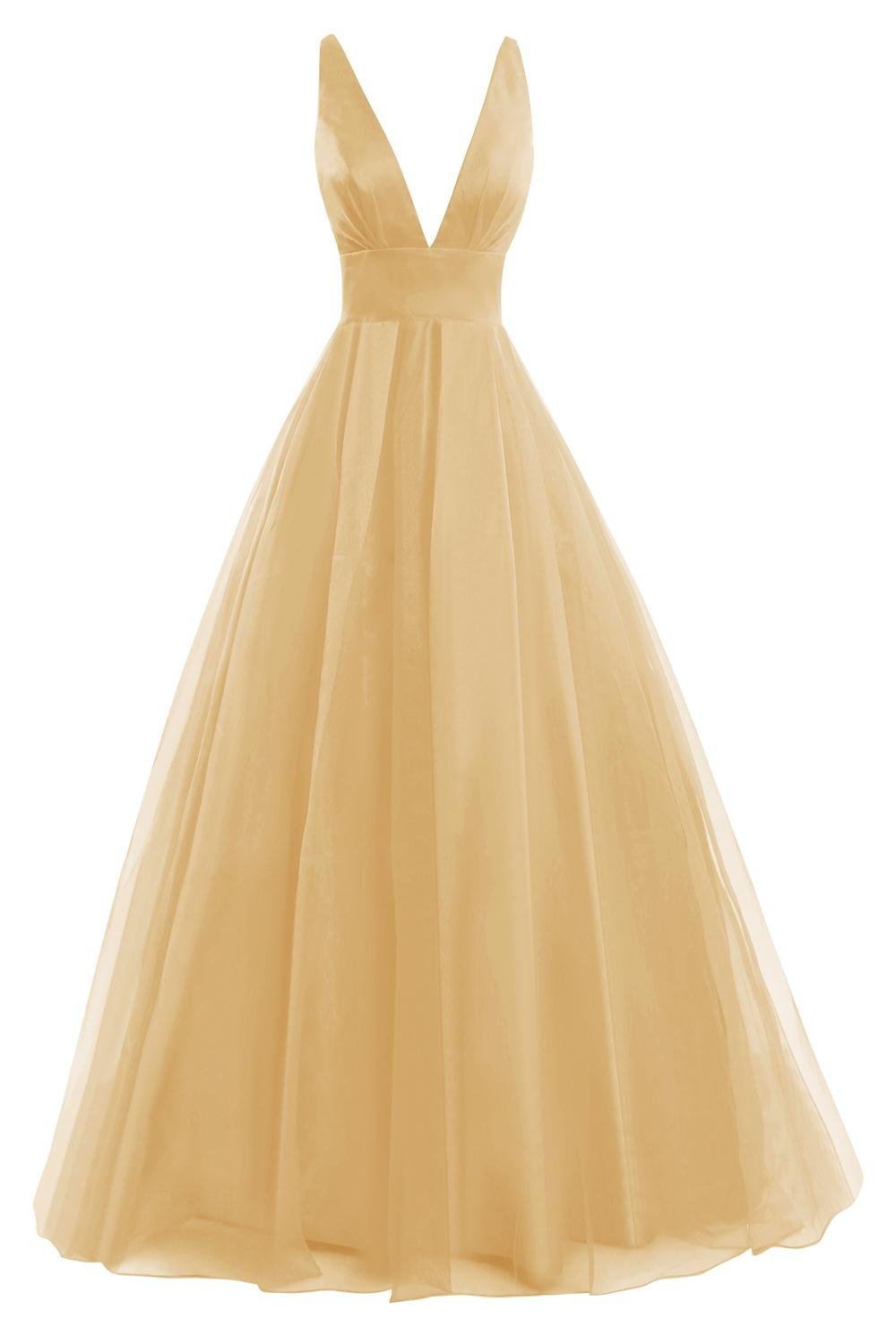 Bess Bridal Women's Tulle Deep V Neck Prom Dress Formal Evening Gowns Gold