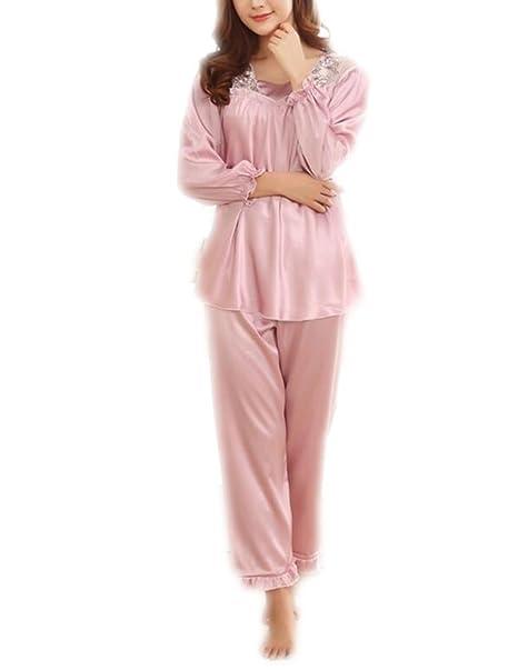 QPALZM Pijamas De Seda Sexy Para Mujer De Manga Larga Pijamas De Seda De Satén Set