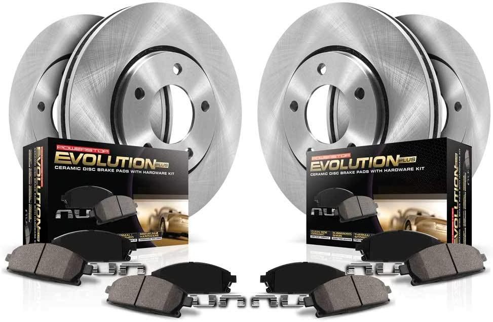 Power Stop K7574 Z23 Evolution Sport Front /& Rear Kit Rotor and Carbon-Fiber Ceramic Brake Pads