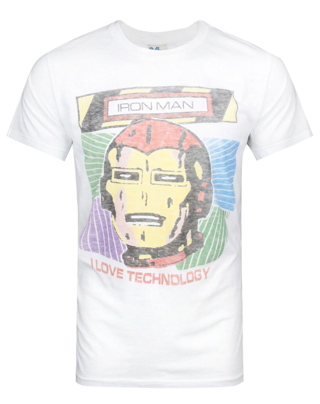 Junk Food Iron Man I Love Technology Men's T-Shirt (S)
