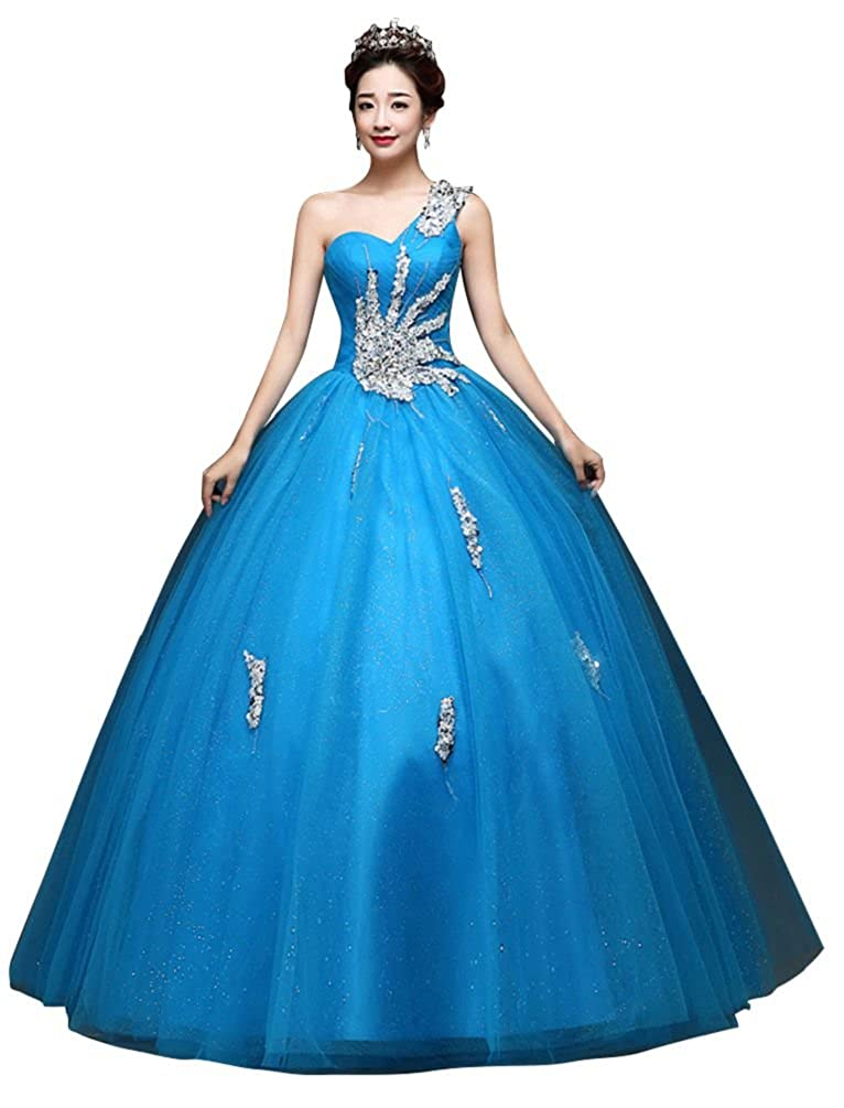 bluee BeautyEmily One Shoulder Ball Gown Beads Sweet Quinceanera Dresses