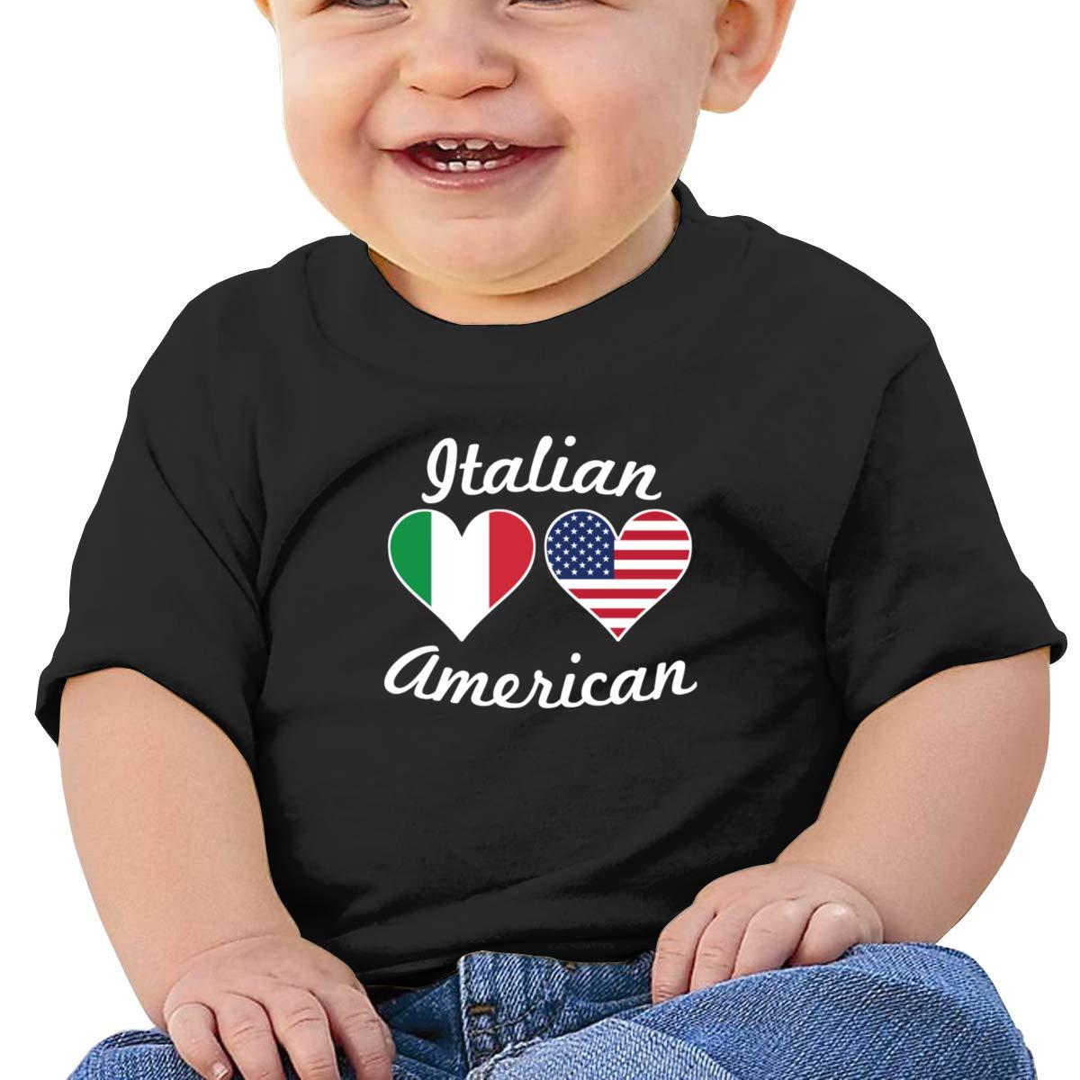 Qiop Nee American Italian Flag Heart Short Sleeves Tshirt Baby Boy