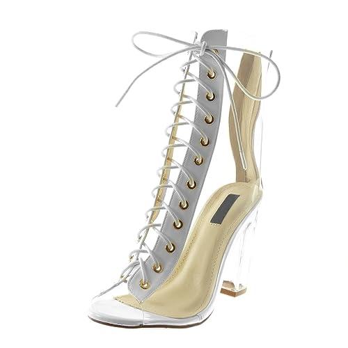 19a7fd3be42c05 Mode Bottine Escarpin Chaussure Femme Montante Toe Angkorly Peep 75fwUUq
