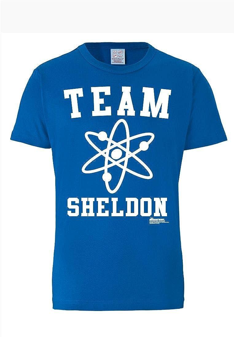 Maglia Big Bang Theory Maglietta Girocollo Azzurro Logoshirt T-Shirt Equipe Sheldon Genio Team Sheldon Design Originale Concesso su Licenza