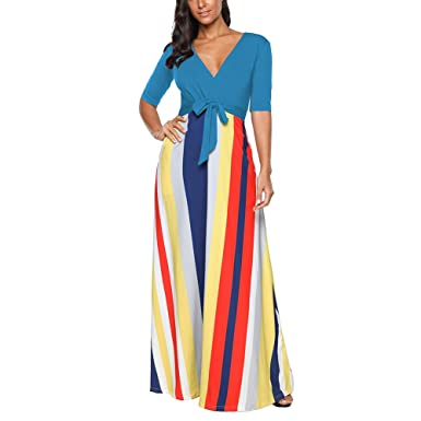 03d42437b13 Mioloe Women s Casual Floor-Length Dress-Half Sleeve V Neck Stripe Maxi  Dress-