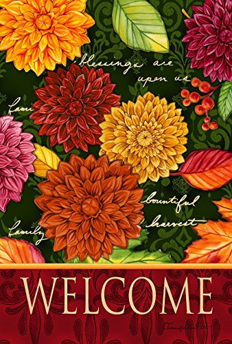 (Toland Home Garden Welcome Mums 12.5 x 18 Inch Decorative Colorful Fall Autumn Flower Garden Flag )