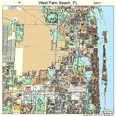 Map Of West Palm Beach Florida.Amazon Com Large Street Road Map Of West Palm Beach Florida Fl
