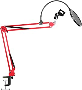Neewer Desktop Microphone Suspension Boom Scissor Arm Stand with Microphone Clip Holder, Table Mounting Clamp and Pop Filter Windscreen Shield Kit for Studio Broadcasting, Singing, Recording(Red)