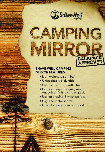 (The Shave Well Company Unbreakable Camping Mirror - Backpack Approved - Hiking Mirror - Shatterproof Mirror - Portable Hanging fogless Mirror - Fog free Shaving Mirror)