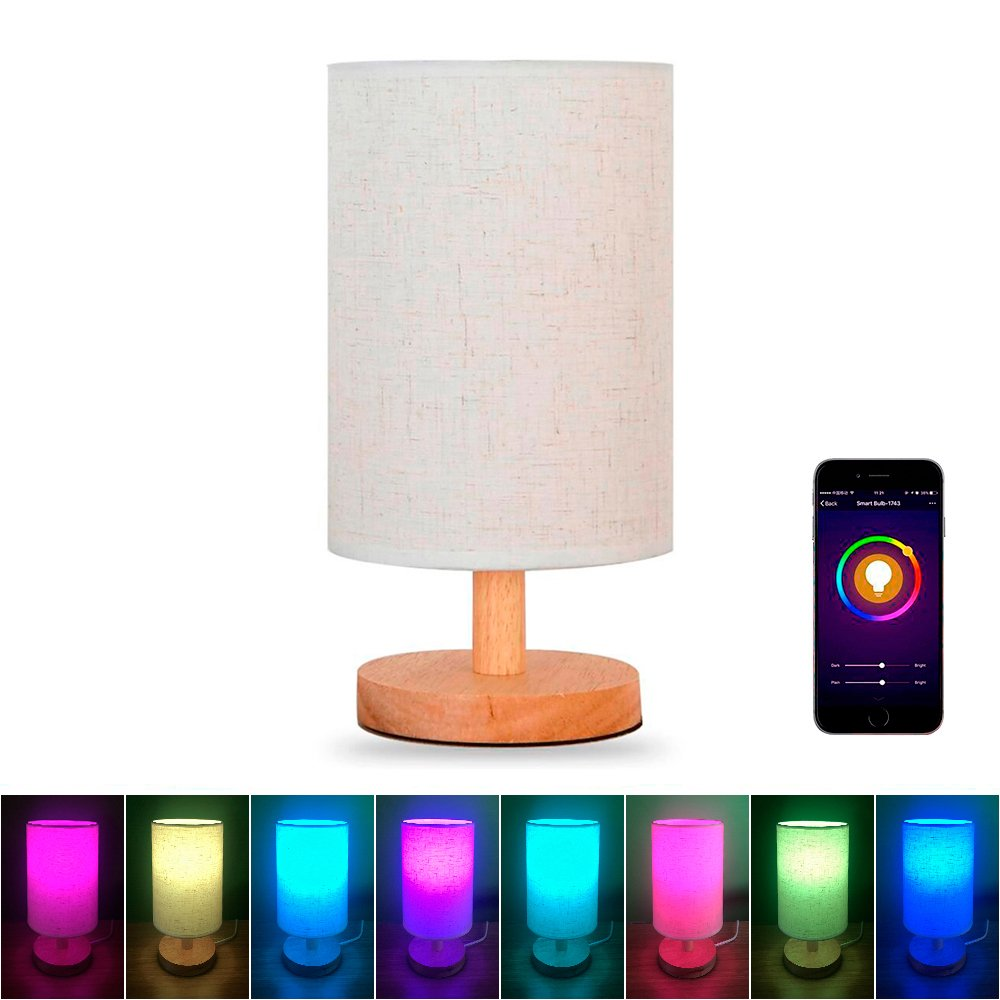 MLGB Alexa WiFi Smart Wood Table Lamp, Dimmable Multicolored Color Changing LED Light, with Fabric Shade and Solid Wood, Smartphone Control Compatible with Alexa Google Home