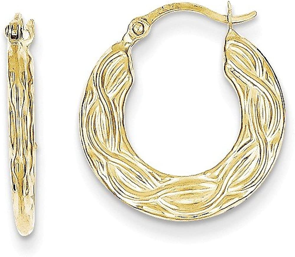 10k Patterned Hollow Hoop Earrings