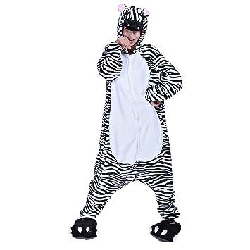 Ferrand Kigurumi Pijamas Unisexo Adulto Traje Disfraz Animal Adulto Animal Pyjamas Cebra Con Zapatillas