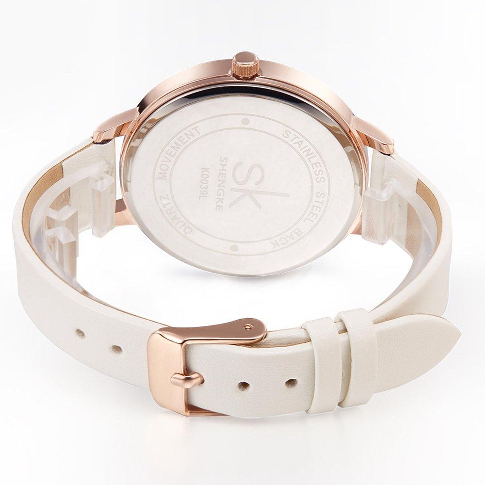 Amazon.com: SK Women Watches Leather Band Luxury Quartz Watches Girls Ladies Wristwatch (White): Watches