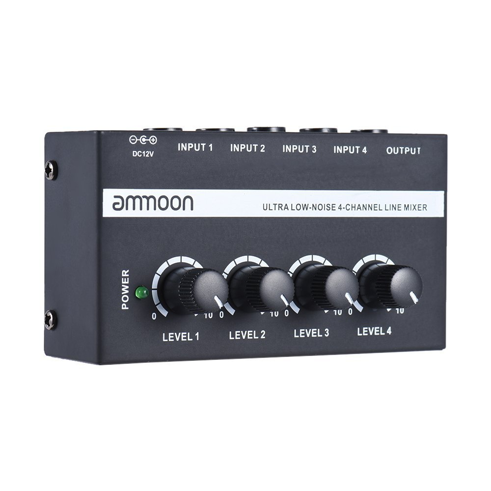 ammoon MX400 Ultra-compact Low Noise 4 Channels Line Mono Audio Mixer with Power Adapter 4334206003