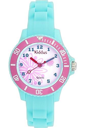 f18f0f479bb4 Kiddus Reloj Analógico niña de Cuarzo Japonés y batería de Larga duración.  Correa Silicona.  Amazon.es  Relojes