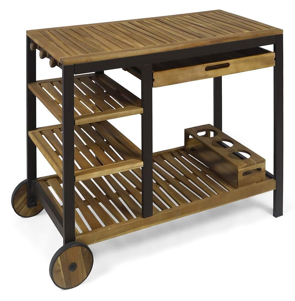 Noble House Wooden Bar Cart with Drawers in Teak by Noble House