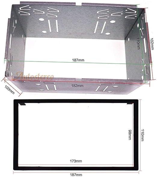 Autostereo Car Audio Estéreo marco universal 2 din radio cabezal DIN Universal Universal Kit de ajuste de jaula 182x102 mm Kit de instalación universal de hierro Sujeción del marco de la: Amazon.es: