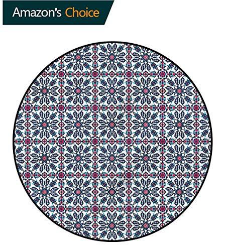RUGSMAT Arabesque Washable Creative Modern Round Rug,Vintage Flower Design Perfect for Any Room, Floor Carpet Round-31 ()