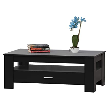 Peachy Fineboard Fb Ct03 Bk Coffee Table With Drawer And Small Storage Space Black Gmtry Best Dining Table And Chair Ideas Images Gmtryco