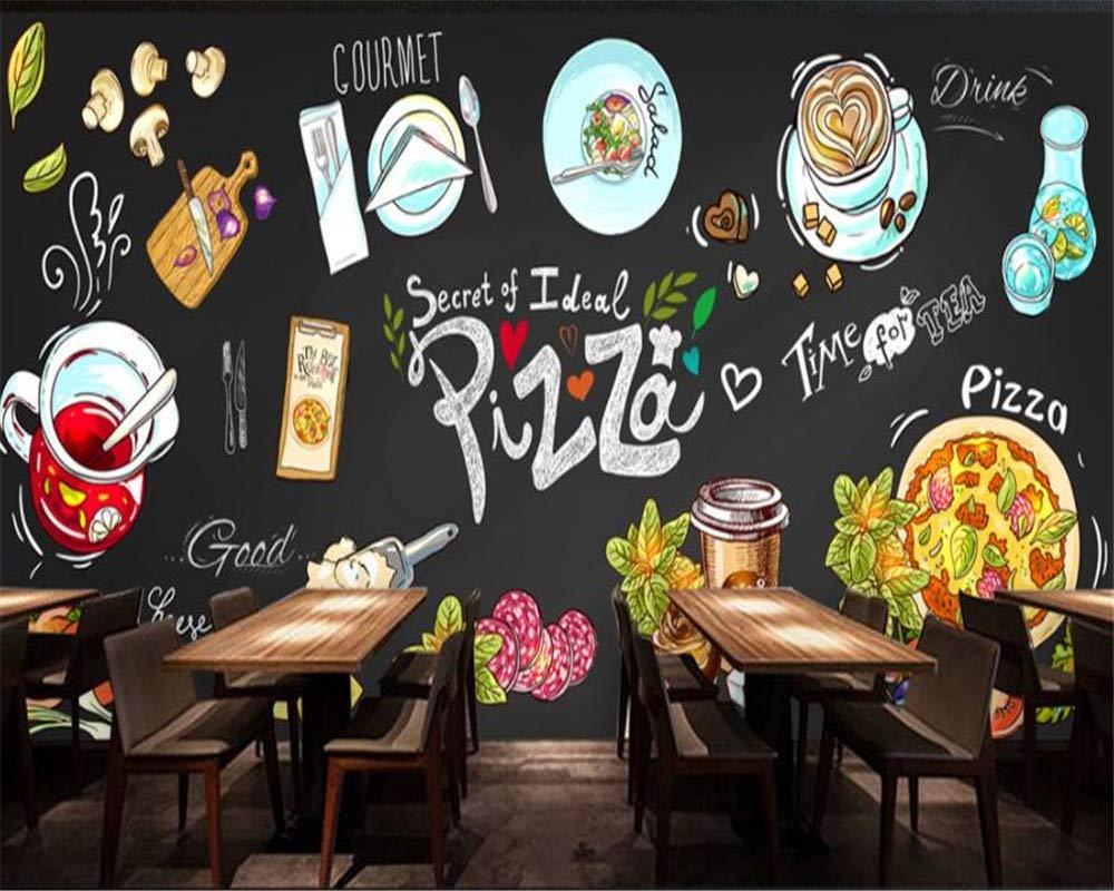 REAGONE Fertigen Sie Jede Tapete Wandbilder Hd Handgezeichnete Tafel Pizza Shop Hintergrund Wandbild Fototapete Für Wände 3 D, 350X245 Cm (137.8 Von 96.5 In)