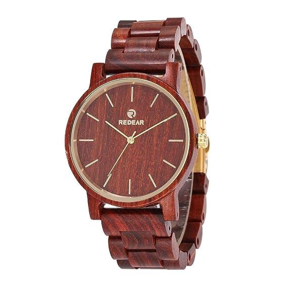 Reloj de pulsera para hombre Reloj de pulsera de cuarzo analógico de alta gama de madera de sándalo rojo: Amazon.es: Relojes