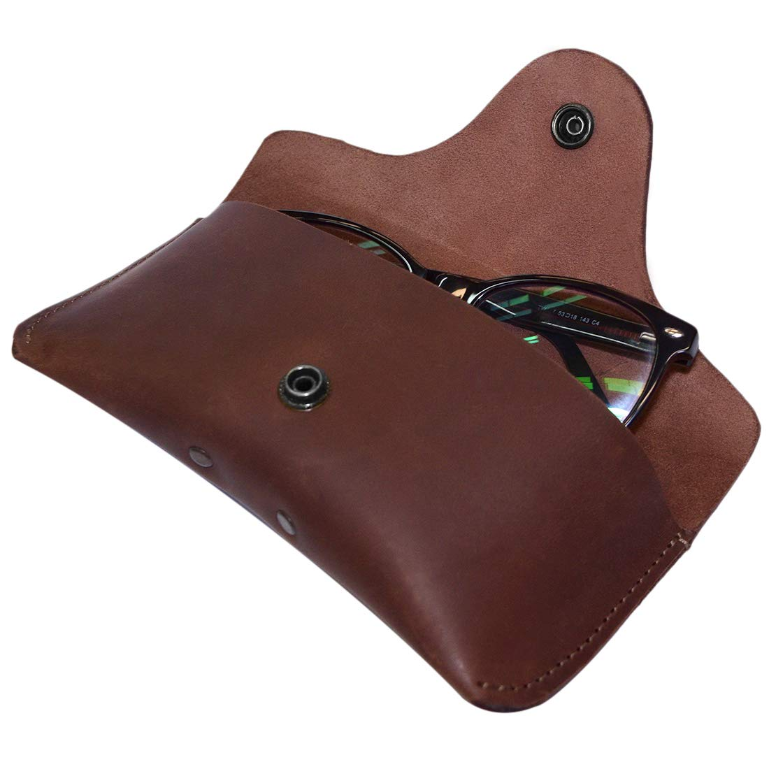 Hide & Drink, Thick Leather Eyeglasses Case, For (6 In.) Long Glasses/Eyewear/Holder/Protector/Heavy Duty, Handmade Includes 101 Year Warranty :: Bourbon Brown by Hide & Drink