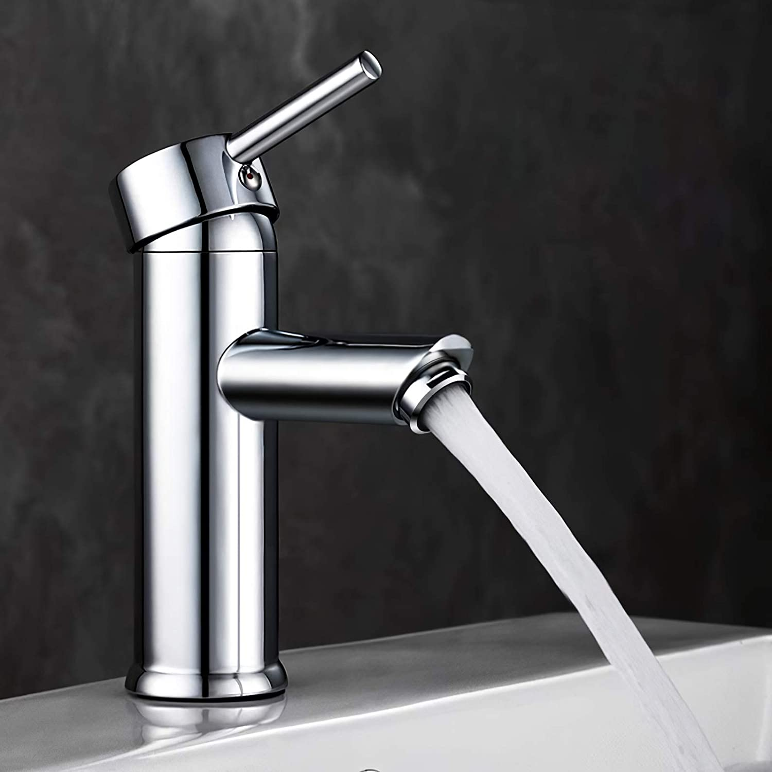 GAVAER Bathroom Tap Exquisite Basin Mixer Tap for Washroom and Bathroom Sink Single Lever Cold and Hot Water Available Basin Tap Chrome Finish Solid Brass