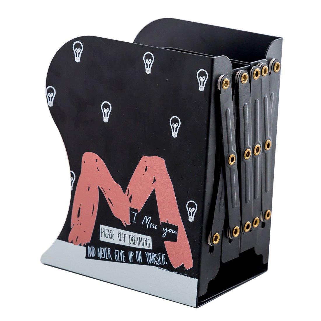 Cute Cartoon Alphabet Pattern Decorative Bookends Metal Heavy Duty Adjustable Book Holder Stable Book Stand Office Desk Organizer Shelf (Black-M)