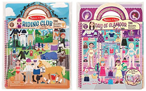 [Melissa & Doug Deluxe Puffy Sticker Activity Book Set: Day of Glamour and Riding Club - 392 Reusable] (Book Day Dress Up)