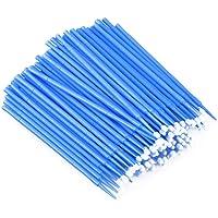 SUPVOX 100pcs Disposable Micro Applicator Brushes Eyelash Extension Cotton Swab Mascara Brush Wands Blue
