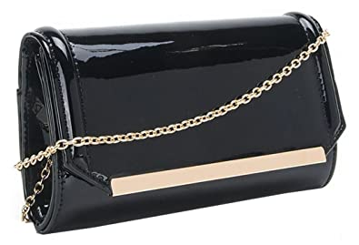 Kukubird Premium Glossy PU Material Clutch With Gold-tone Metal Strap Purse Wallet Clutch - White 0l4Mv7o