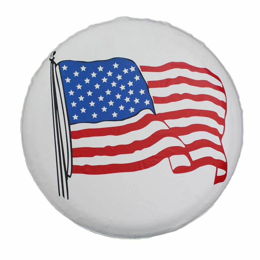Spare Tire Cover 17 inch American Flag White Waterproof Universal Wheel Tire Covers for RV Jeep Trailer Honda CRV Toyota RAV4 SUV Camper (17'' for diameter 31''-33'') by Tsofu (Image #1)
