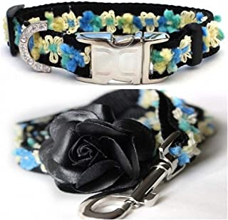 "product image for Diva-Dog 'Coco Blue' Custom Small Dog 5/8"" Wide Dog Collar with Plain or Engraved Buckle, Matching Leash Available - Teacup, XS/S"