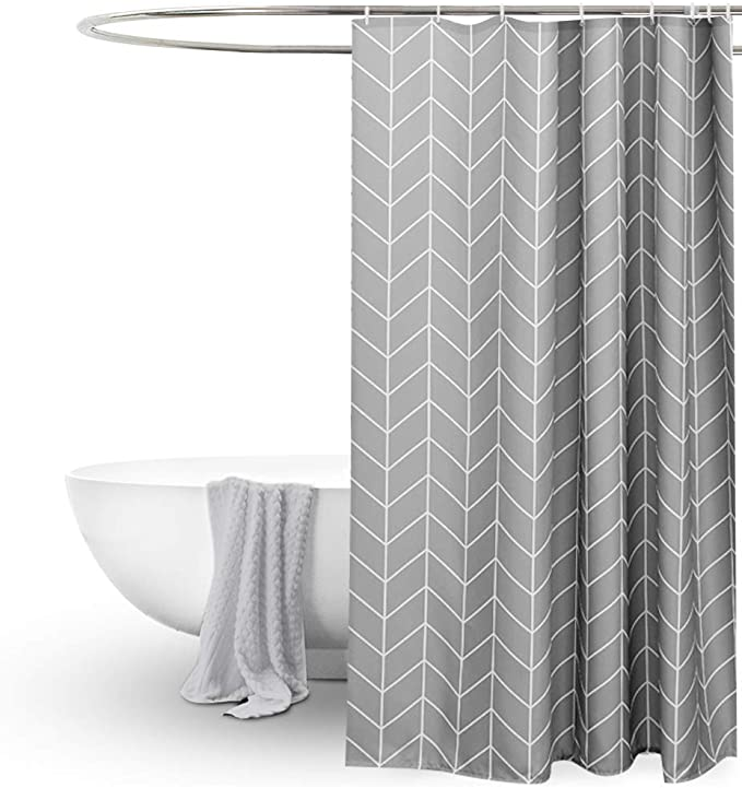 Eurcross Grey Shower Curtain For Bathroom Geometric Pattern Water Repellant Anti Mould Extra Wide Long Shower Curtains 200 X 200cm Drop For Wet Room Amazon Co Uk Kitchen Home