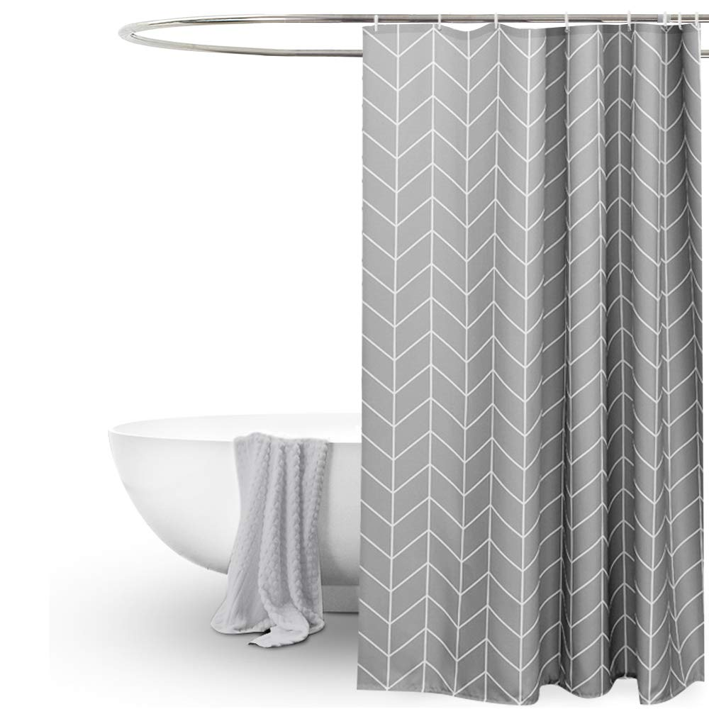EurCross Geometric Pattern Grey Shower Curtain For BathroomWater Repellant Anti Mould Extra Wide Long Curtains 200 X 200cm78W 78LIncluding
