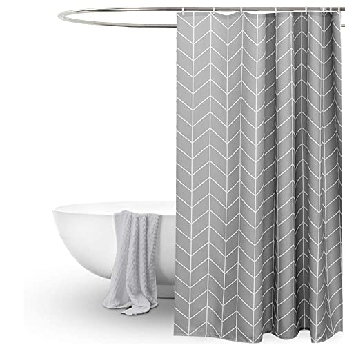 EurCross Geometric Pattern Grey Shower Curtain For BathroomWater Repellant Anti Mould Extra Wide