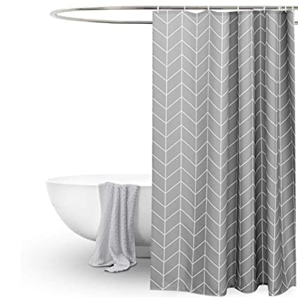 Amazon Long Shower Curtain 72x78 Inch Grey Chevron Pattern