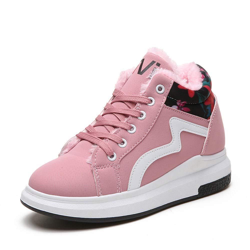 HhGold Stiefel Damen Schuhe Mode Frauen Lace-Up Winter Warm Floral High Running Sport Stiefel Runde Kappe Schuhe (Farbe   Rosa Größe   37 EU)